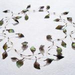 Glanzfasanfedern und Glasperlen